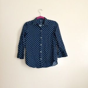 Chaps Navy Blue and White Polka Dot Button Up Top